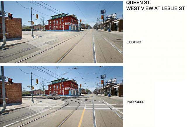 Queen and Leslie Streets before and after, image courtesy of the TTC
