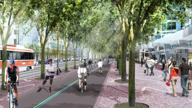Queens Quay West Revitalization Rendering, Waterfront Toronto, West8 DTAH