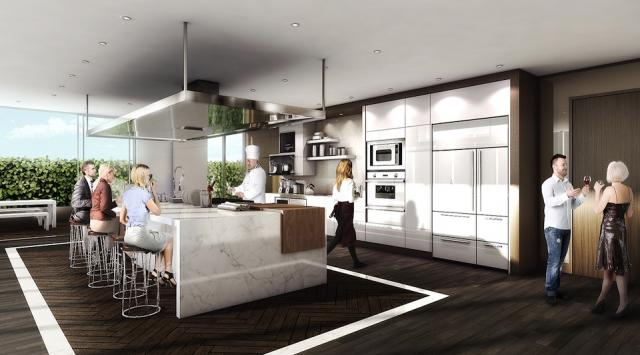 Demonstration kitchen at the Monarch Corporation's Epicurean condo, Toronto