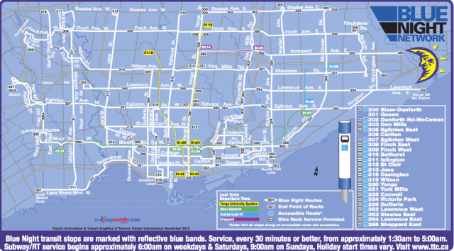 Blue Night Network Map,  image courtesy of the Toronto Transit Commission