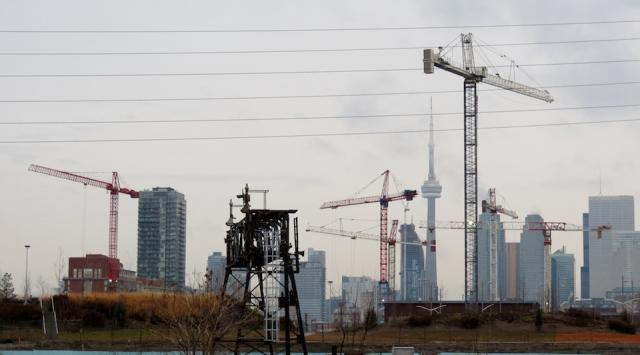 Cranes from Canary District in Toronto