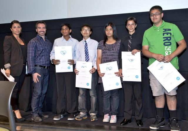 Student Pug Ed Winners, 2012, with Marie Girolamo and Doug Convoy of the Pugs
