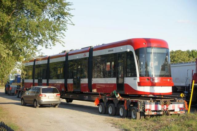 Toronto's new streetcars arrive, image by Nigel Terpstra