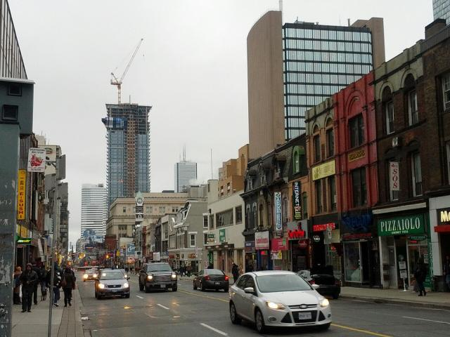 Canderel Stoneridge's Aura rising over Yonge Street, image by caltrane
