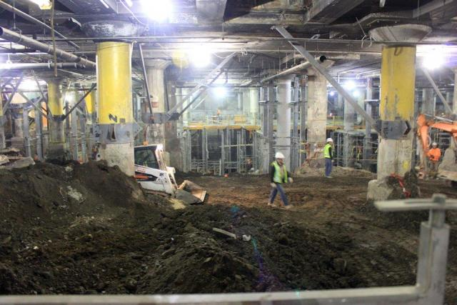 Union Station's underpinnings under reconstruction, image by Jack Landau