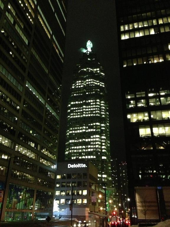 Downtown Toronto financial towers at night, including Brookfield Place