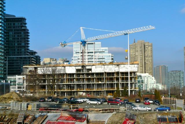 Work progresses on Monarch Corporation's Waterscapes condos, Toronto