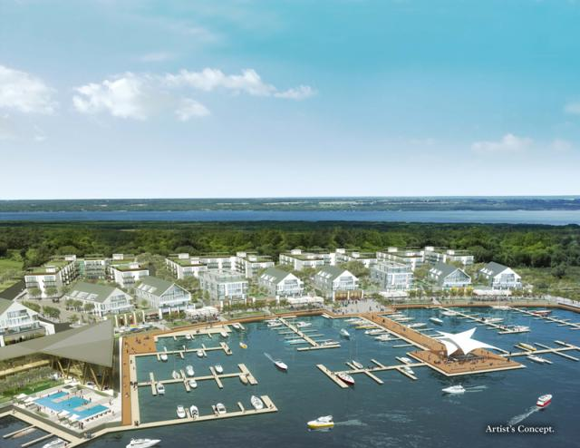 Aerial view of Friday Harbour, rendering courtesy of Geranium Corporation