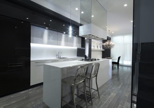 Kitchen/Living Area in the Model Suite at Edition Richmond, design by Cecconi Si