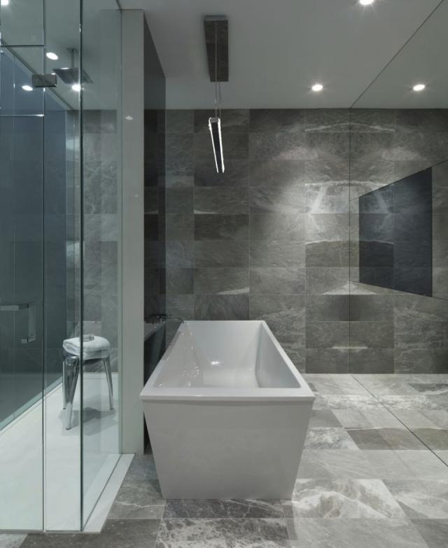 Master bathroom in the Model Suite at Edition Richmond, design by Cecconi Simone