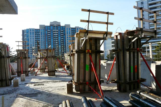 Construction progress at Menkes' Gibson Square Condominiums Toronto
