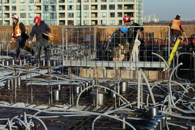 Construction at Menkes' Gibson Square Condominiums Toronto