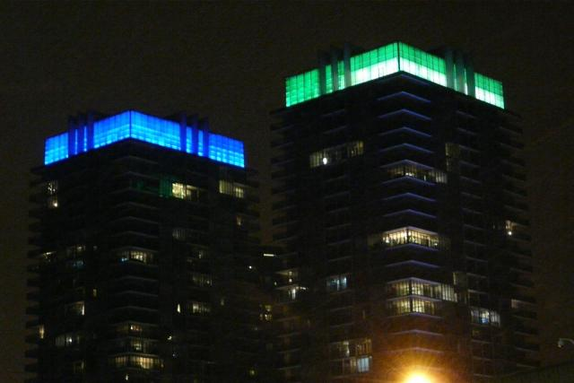 South Beach towers feature solar powered, LED-lit lanterns by night