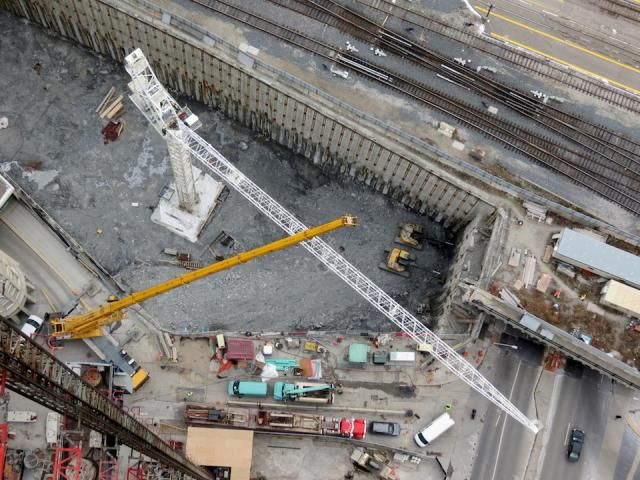 A view of the Backstage luffing crane being assembled from above, by SkyJacked