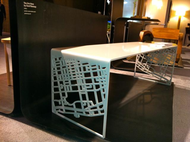Geof Ramsay's custom-made You Are Here bench at IDS2013