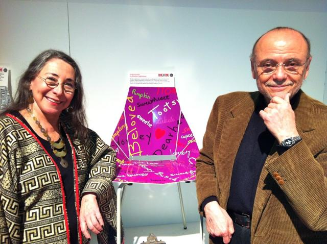 Marily Lightstone and Moses Znaimer pose beside Marilyn's design for Blu Dot