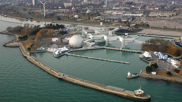 Aerial photo of Ontario Place