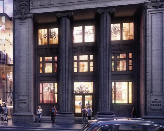 Restored Canadian Bank of Commerce as new entry to the Massey Tower