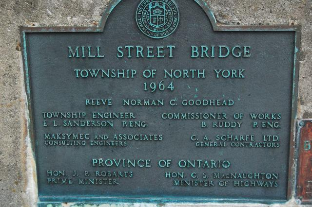 Plaque on Mill Street Bridge, Toronto