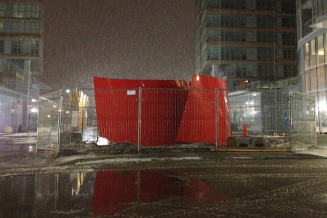 Approaching Red, sleeting storm, Concord CityPlace Toronto, image by Hawc