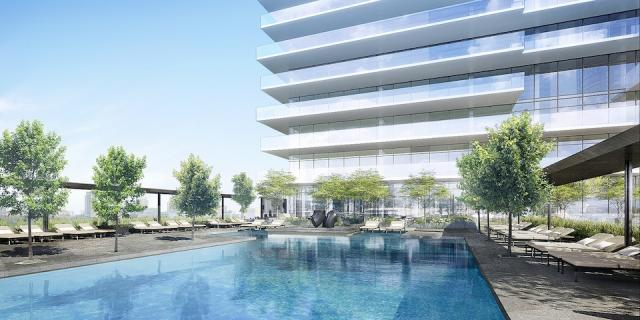 Yonge + Rich condo pool, architectsAlliance, Great Gulf, downtown Toronto