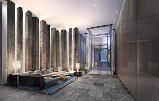 Yonge + Rich condo lobby, architectsAlliance, Great Gulf, downtown Toronto