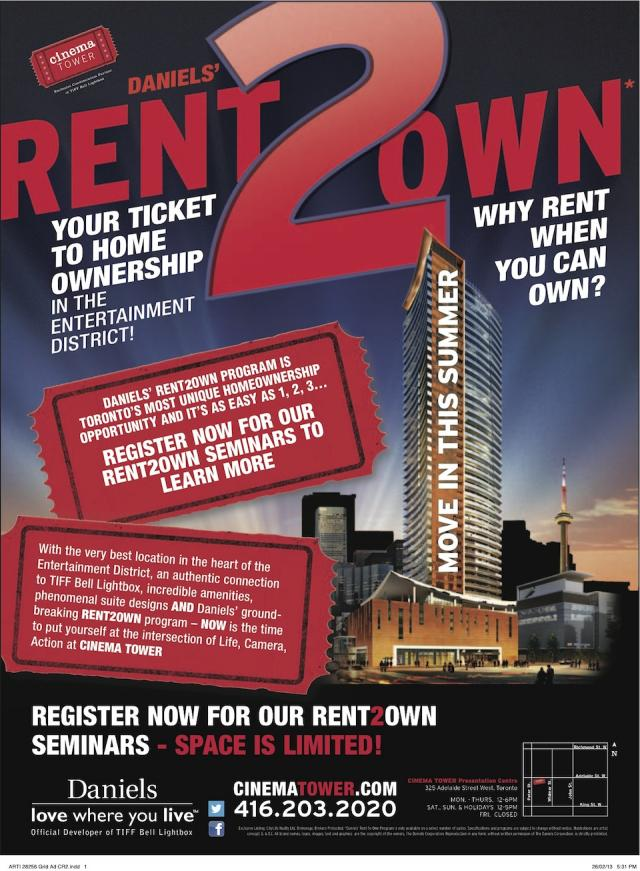 Cinema Tower Rent to Own advertisement