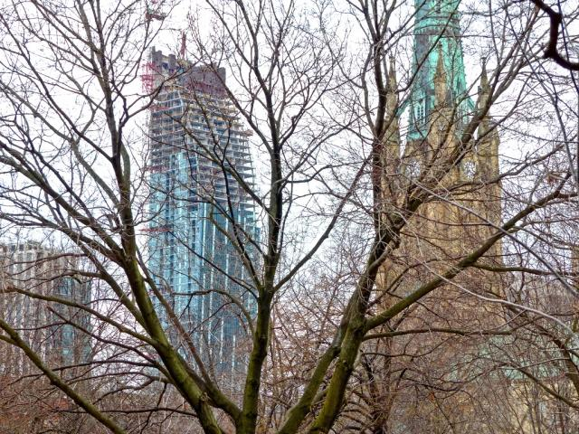 L Tower through the trees of St. James Park, March 2013, image by Udo Dengler