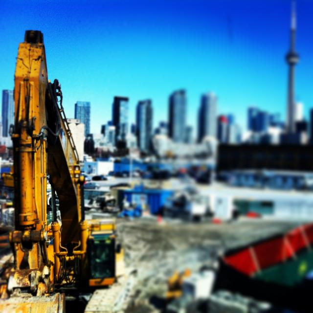 Island Airport construction overlooking downtown Toronto