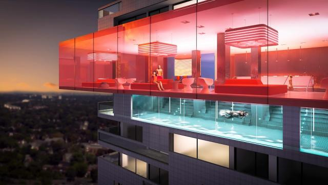 Cantilevered pool at E Condos, Toronto by Bazis, Metropia and RioCan