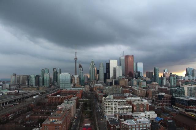 Dark, cloudy downtown east Toronto skyline
