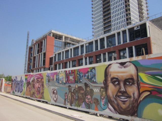 Wall by Elicser, public art, Regent Park, Toronto, development