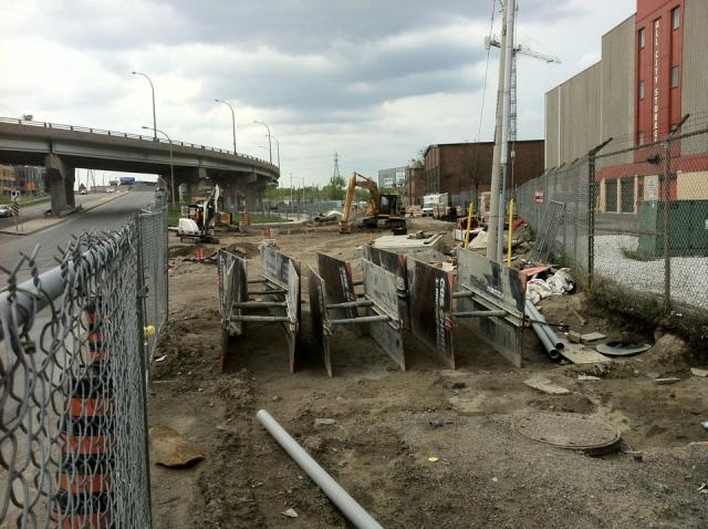 Work on Old Eastern Avenue at the CIBC Pan Am and Parapan Am Athletes' Village