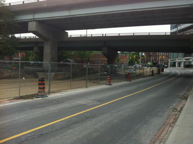 Work on Sumach Street at the Richmond and Adelaide underpasses, Toronto