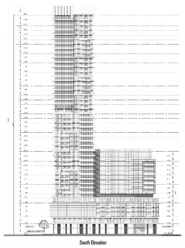 200 Dundas Street East, proposed South Elevation by Page + Steele Architects