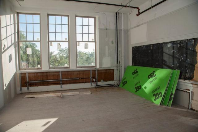 Some classrooms have been split in half to offer a range of studio sizes