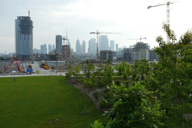 The skyline from Corktown Common park by Waterfront Toronto