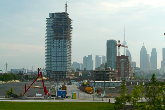 The Distillery District from Corktown Common park by Waterfront Toronto