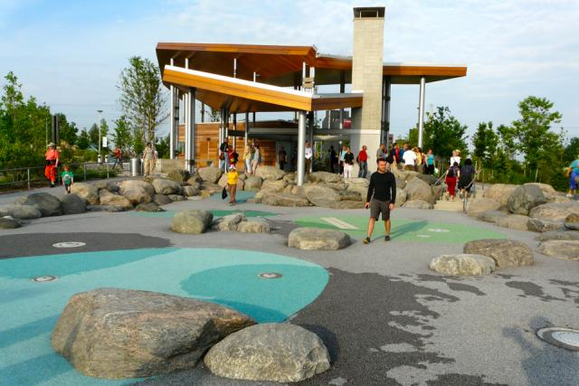 Exploring the pavilion at Corktown Common park by Waterfront Toronto
