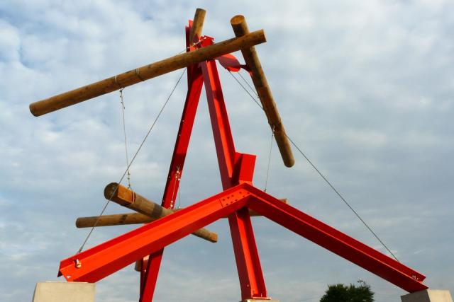 Mark di Suvero's No Shoes at Corktown Common park by Waterfront Toronto