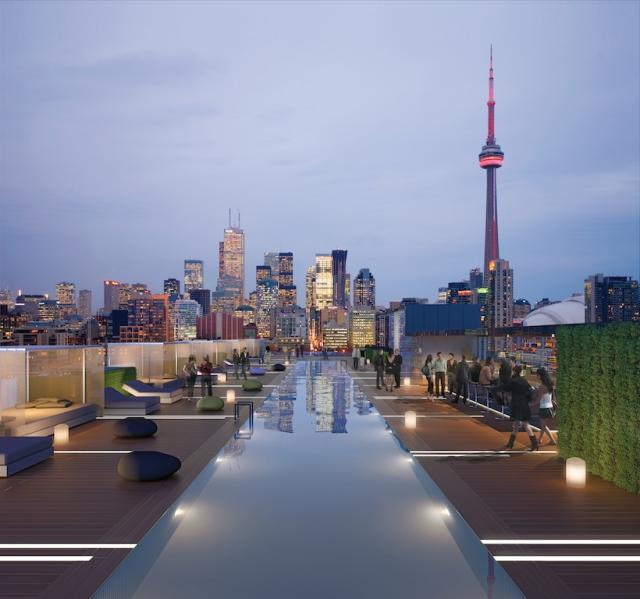 Rooftop pool at the Thompson Residences, by Freed Developments, Toronto