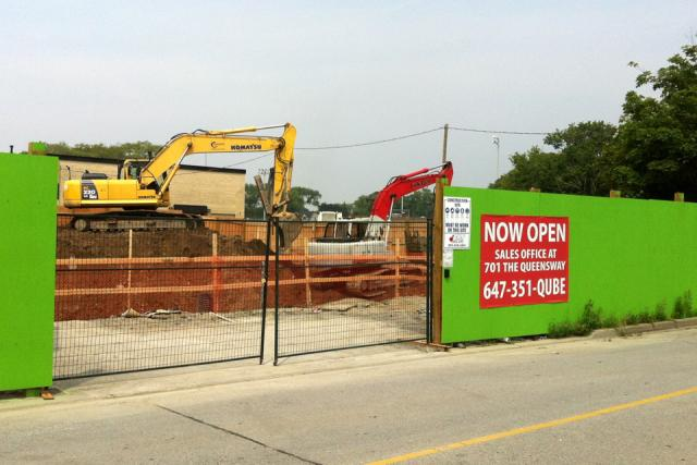 Excavation activity at Qube Condos, Toronto, by First Avenue Properties