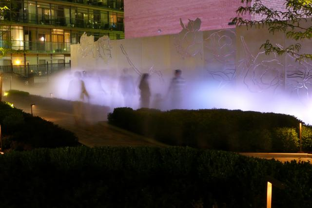 Passersby enjoying the mist garden in action, image by Craig White