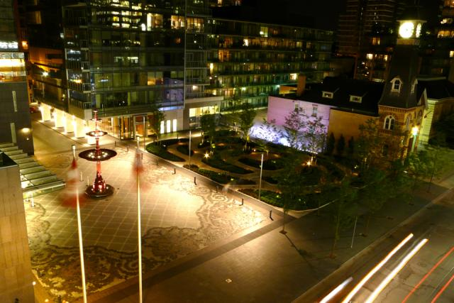 The garden and forecourt from above by night, image by Craig White
