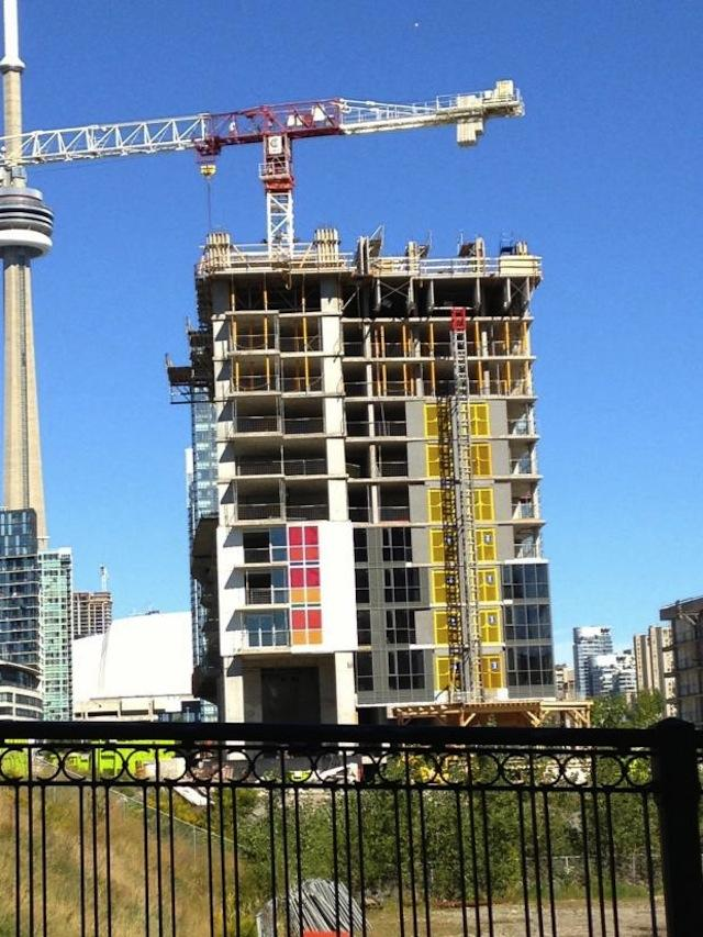 Spectra condos with its first splashes of colour, Concord CityPlace, Toronto