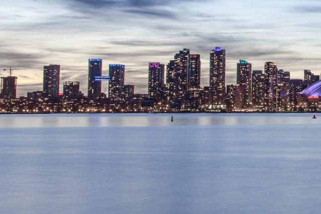 Concord CityPlace seen from the Toronto Islands, detail of image by Jack Landau