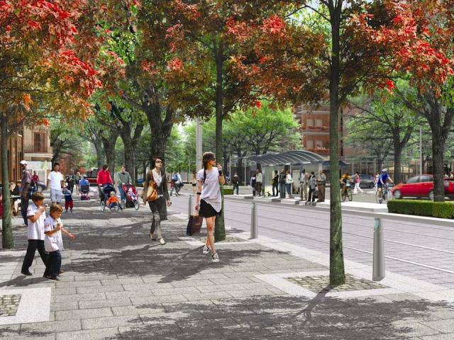 Future streetscape in the West Don Lands, image courtesy of Waterfront Toronto