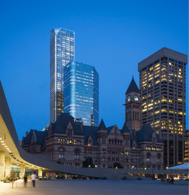 2 Queen West by Cadillac Fairview, seen from Nathan Phillips Square, Toronto