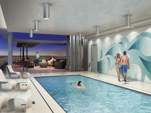 The indoor/outdoor pool at Cloud9 Condominiums, Lash Group of Companies, Toronto