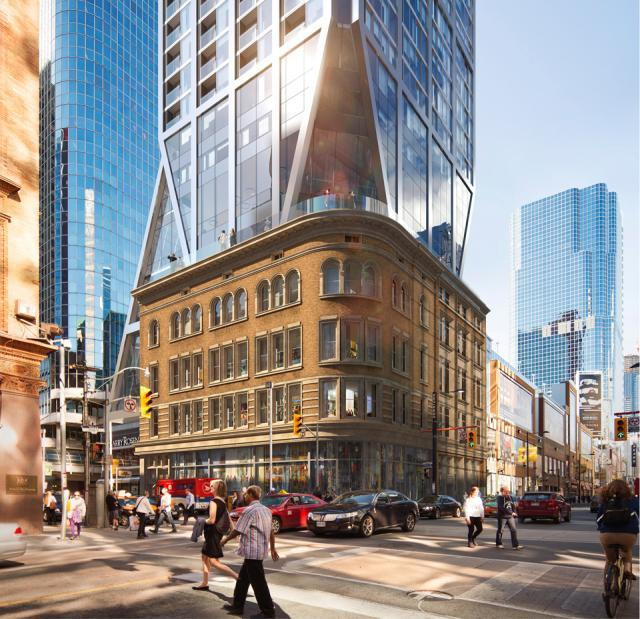 2 Queen West at Yonge Street, image courtesy of Cadillac Fairview